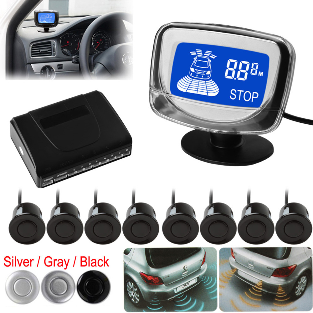 Weatherproof 8 Rear Front View Car Parking Sensors System Auto Vehicles Reverse Backup Radar Kit LCD Display Monitor - EPATHDEALS China Electronics store