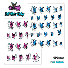 Beauty 22Sheets/Lot 11 Styles Butterfly Nail Sticker Colorful DIY Nail Water Transfer Decals Decoration BLE1390-1400