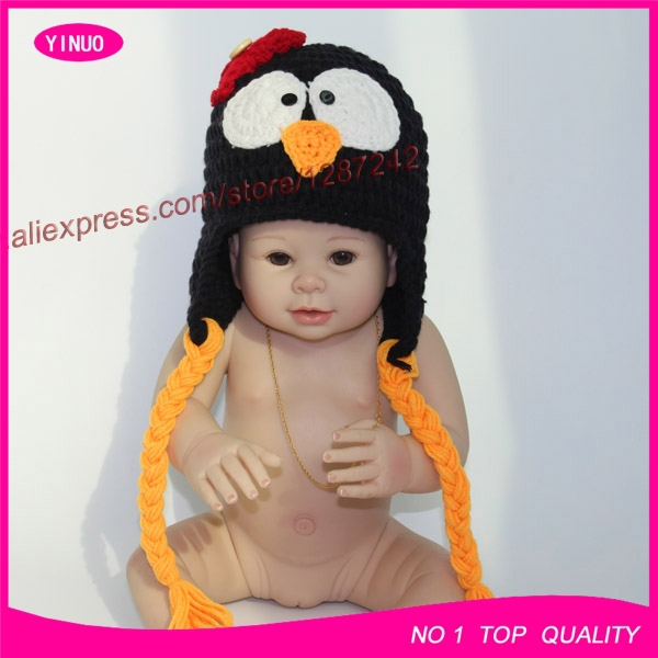 Excellent quality crochet penguin animal baby hat knitting pattern 5pcs/lot(China (Mainland))