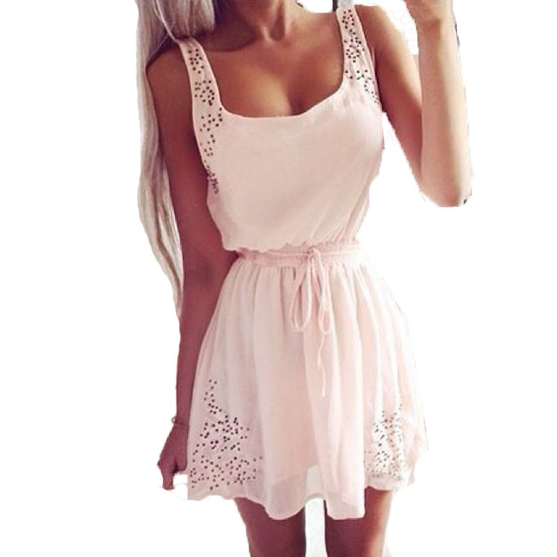 Sexy Summer Women Casual Sleeveless Short Mini Dresses XS S M L White Color(China (Mainland))
