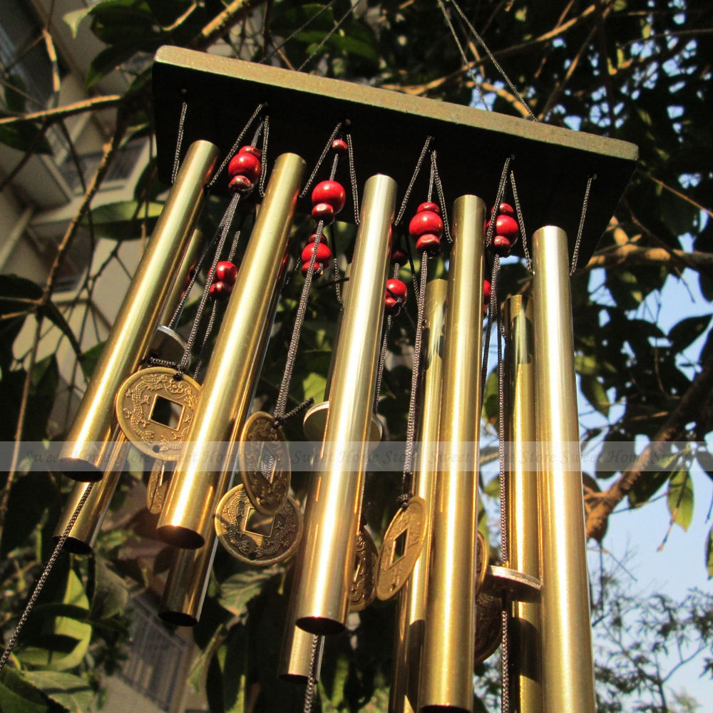 Vintage Bronze Metal 10 Tubes Coin Windbell Yard Garden Outdoor Living Decor Wind Chimes(China (Mainland))