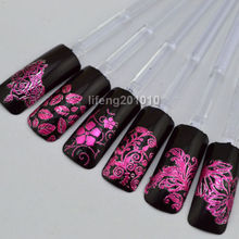 wingood88 nail art store for full fingernails 108 PCS High Quality 3d Purple Flower Nail Art Sticker Decals Decoration L002