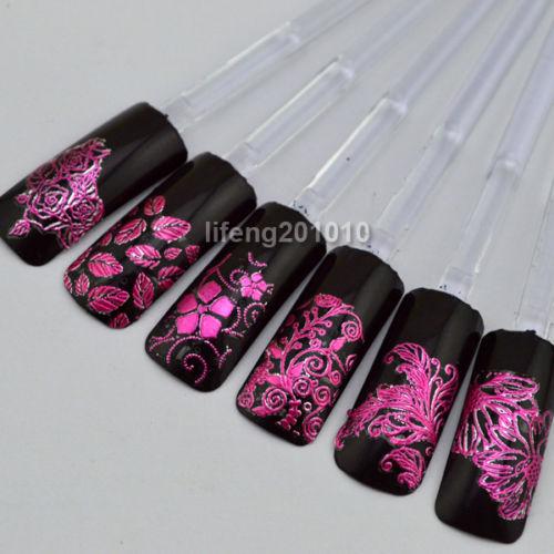 Wholesale 1 Sheet High Quality 3d HOT PINK Flower Nail Art Sticker Decals Decoration 108 PCS Full Fingernail L002 Free Shipping(China (Mainland))