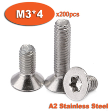 Buy 200pcs DIN965 M3x4 A2 Stainless Steel Torx Countersunk Flat Head Screw Screws for $8.03 in AliExpress store