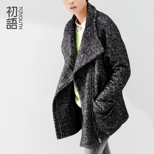 Toyouth 2015 женщин шерстяное пальто широкий краткое застежки-молнии средний - длинные v-образным вырезом женщин сплошной Batwing рукав куртки