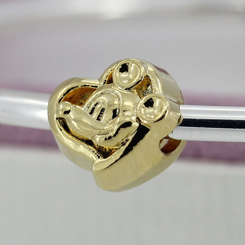 1pc High Quality 18K Gold Plated Heart With Cute Mouse Bead Charms Fit Pandora Bracelets & Bangles Women DIY Jewelry TJ053(China (Mainland))