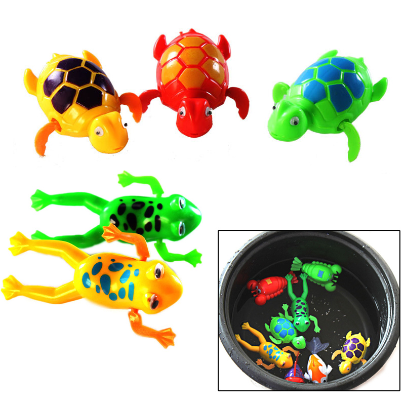 Cute Funny Clockwork Bath Toys Animals Frog Fish Baby Shower Swimming Pool For Baby/Kids Gift Randomly(China (Mainland))