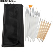 Fashion 20pcs Nail Art Acrylic Painting Drawing Polish Brushes Dotting Pens With Leather Case Beauty DIY Tools Set Free Shipping(China (Mainland))