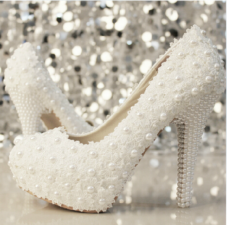 Handmade Lace pearl wedding high heel shoes bridal Crystal woman high-heeled pumps - Shenzhen Q Star Technology Co., Ltd. store