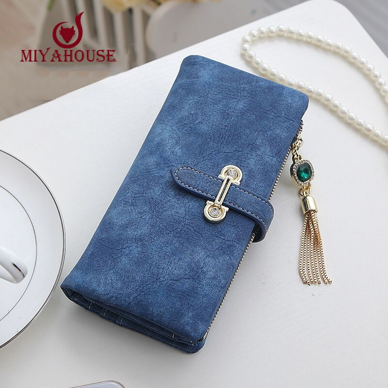 High Capacity Female Wallet Long Nubuck Leather Wallets Women Zipper Clutch Coin Purse Ladies Wristlet With Card Holder Wallet(China (Mainland))