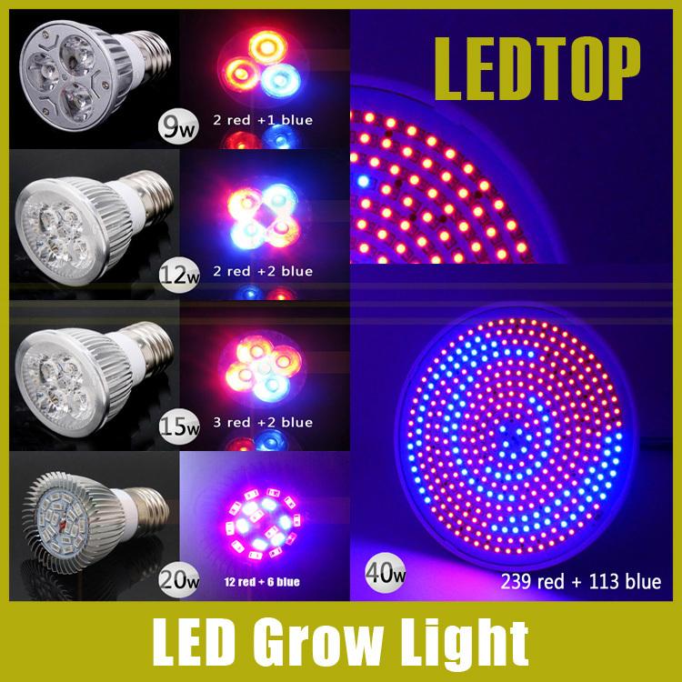 1x 9W 12W 15W 20W 40W E27 LED Grow Light Flowering Plant Hydroponics System Full Spectrum Lamp AC 85-265V 220V 110V - Shenzhen Ledtop Technology Co., Ltd. store