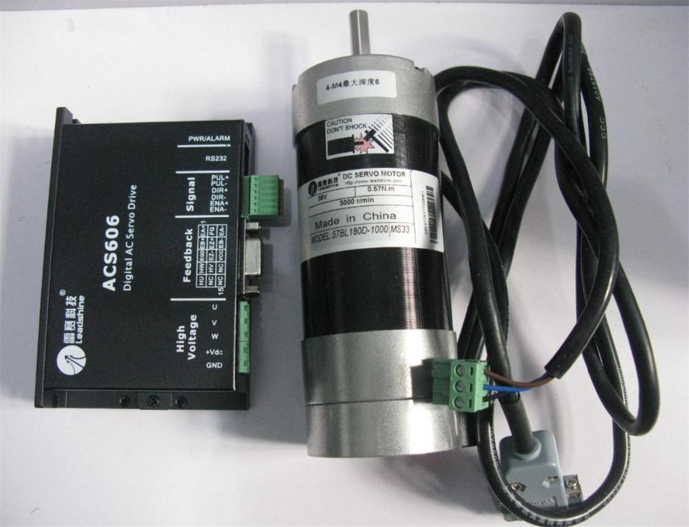 Leadshine 180W Brushless DC Motor Servo 57BL180D-1000+ACS606 Brushless Controller 36V Circular Flange 82ozin 0.57NM Limited)