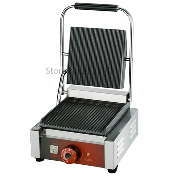 Single Head Contact Grill Electric Griddle with Double Groove Plates _Panini Grill Sandwich Maker<br><br>Aliexpress