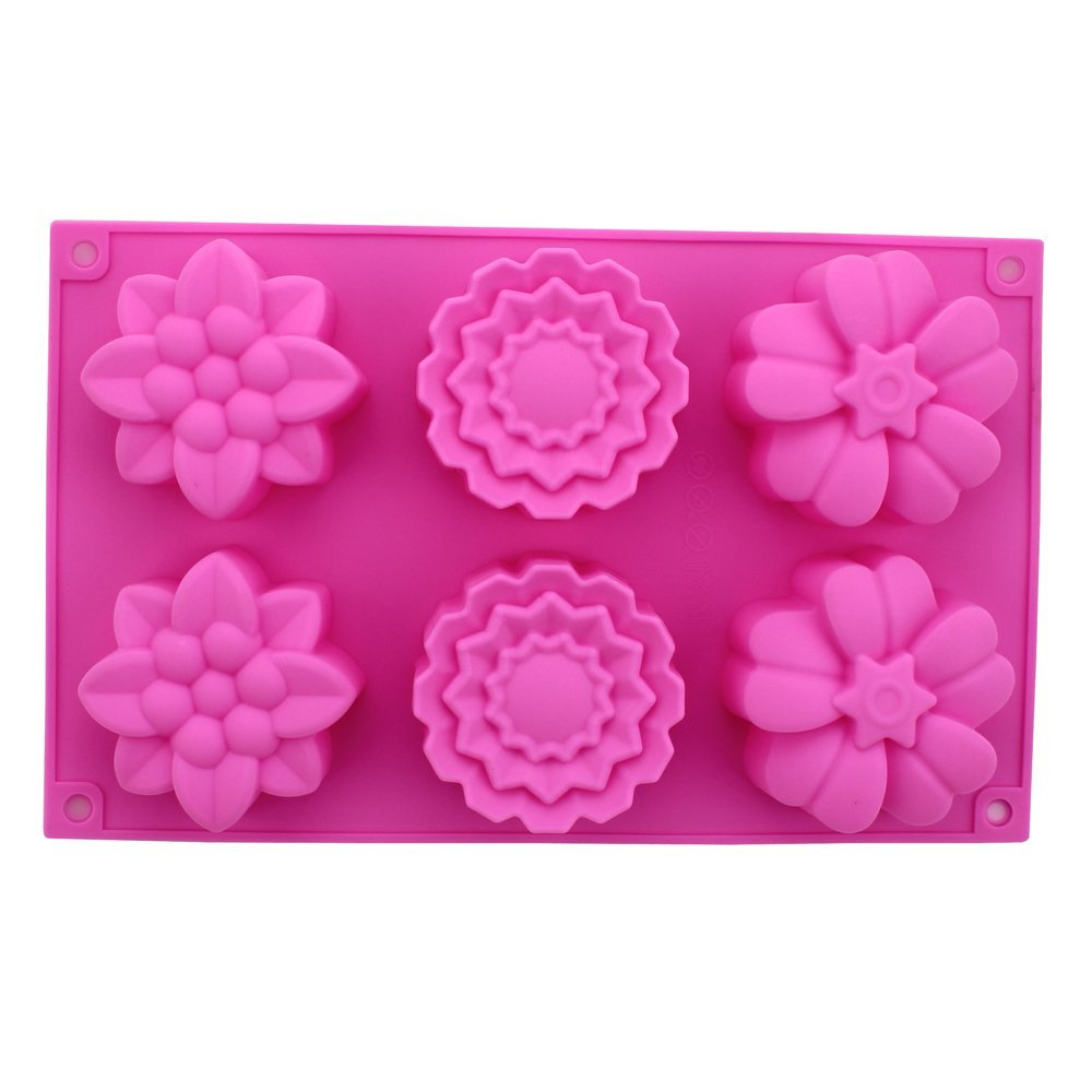 6 Cavities Big Rose Flower Silicone Cake Baking Mold Pan Muffin Cups Soap Moulds Biscuit Chocolate Ice Cube Tray DIY - Tomshow store