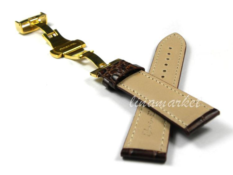 22mm (Buckle 20mm) Gold Double click Butterfly buckle Brown Crocodile pattern Genuine Leather Watchbands BANDS Strap SZX102Gb(China (Mainland))