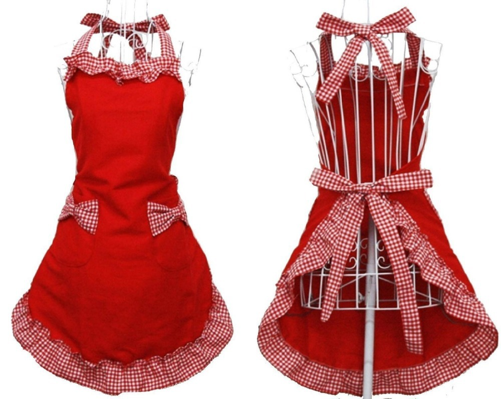 New fashion women Sweet Cotton Housewife home chef cooking apron Kitchen Cooking Women's Bib Apron with Bowknots Pockets (RED)(China (Mainland))