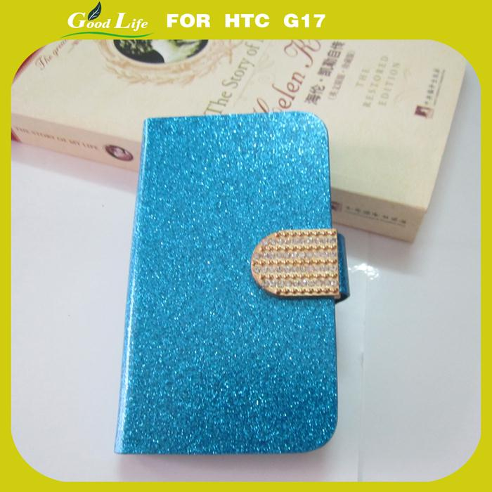 Fashion Wallet Flip Feature with Credit/id Card Slots/holder&strap PU Leather Bling Case Cover For HTC EVO 3D G17(China (Mainland))