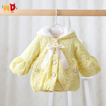 AD Cute Thermal Embroidered Floral Baby Girls Coat Fleece Thick Parkas for Baby Toddler Children Jacket Clothing Winter Snowsuit