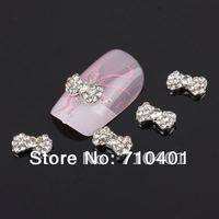 FREE SHIPPING Wholesale 50 pcs Silver 3D Alloy Rhinestone Bow Tie Nail Art Glitter Slice DIY Decoration Nail Gift Manicure Tool