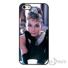Audrey Hepburn Model Icon Actress back skins mobile cellphone cases cover for iphone 4/4s 5/5s 5c SE 6/6s plus ipod touch 4/5/6