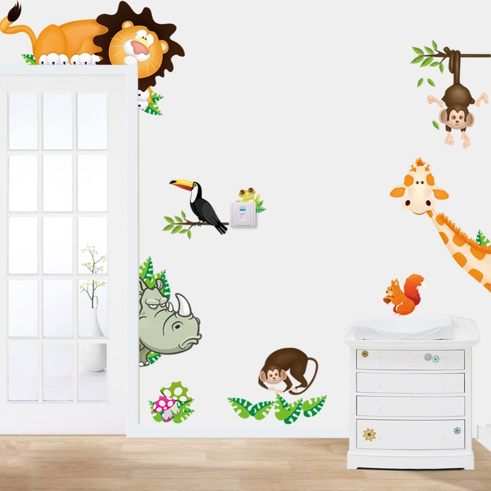 2015 tropical jungle animals wall stickers decal kids for Baby jungle safari wall mural