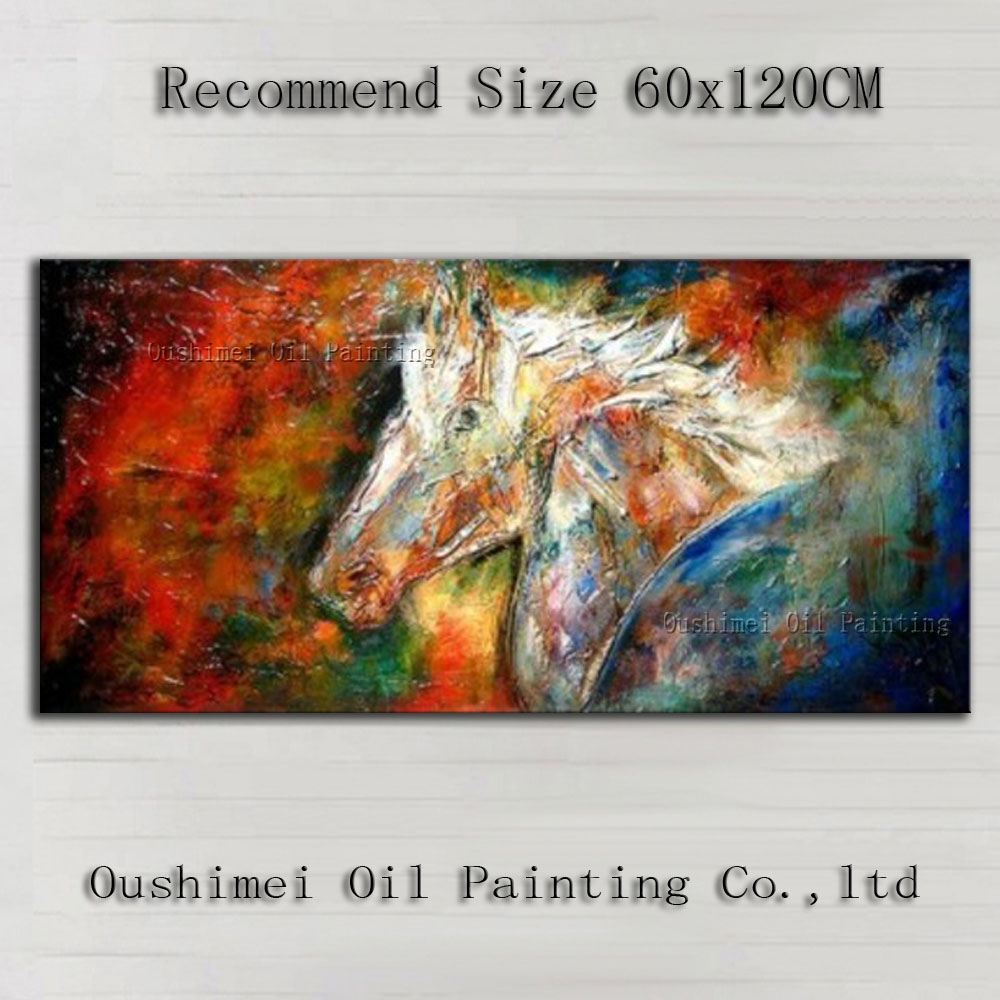 Artist Handmade High Quality Abstract Horse Oil Painting On Canvas Handmade Ghost Animal Horse Oil Paints For Wall Decoration(China (Mainland))