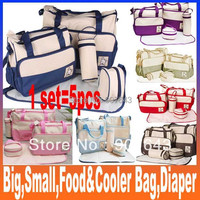 Multi-function diaper bag, 5pcs for different use, baby bag, mommy mama handbag, nappy tote shoulder bag Free Shipping