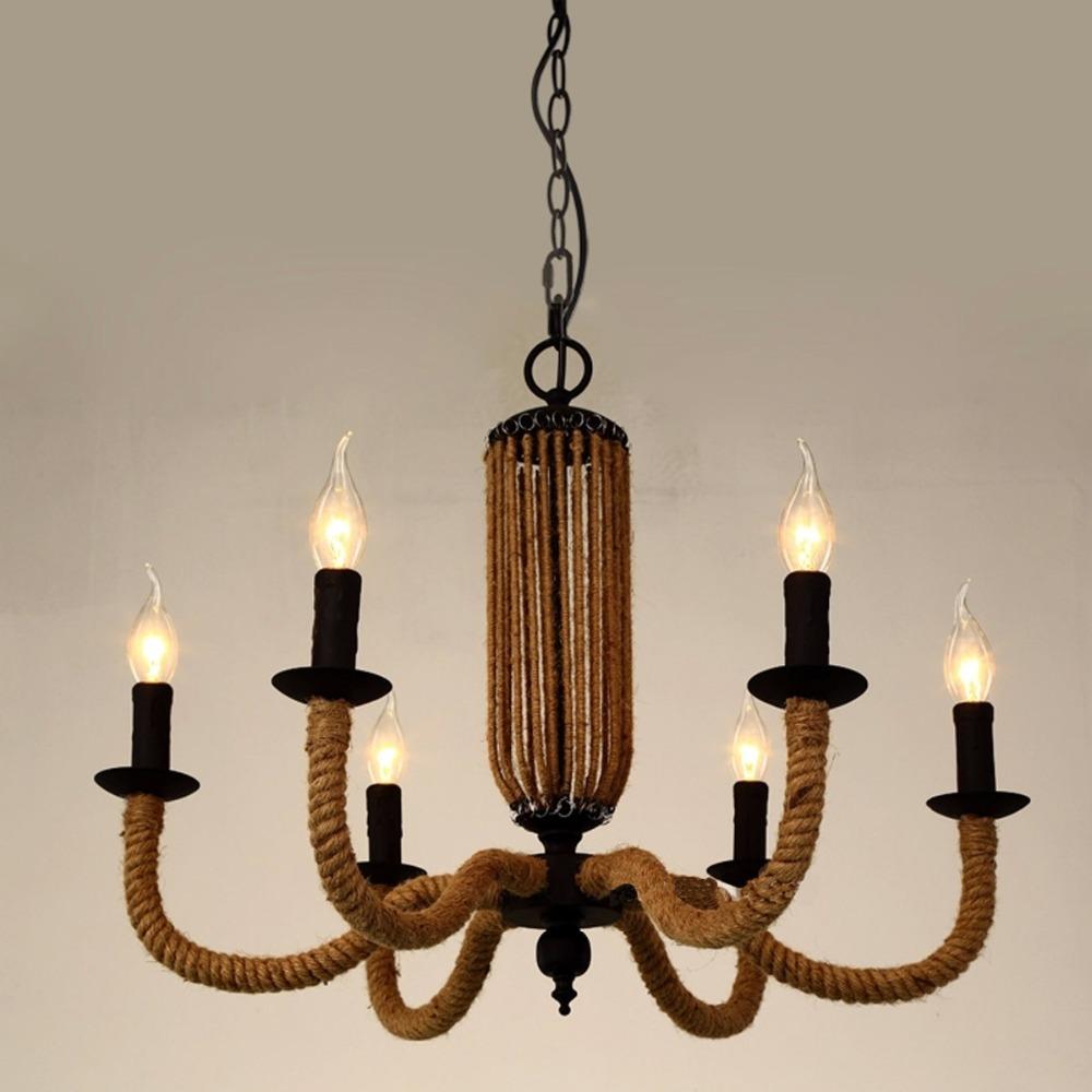 retro decor chandelier american country rh loft light candles 6 heads iron hemp rope pendant