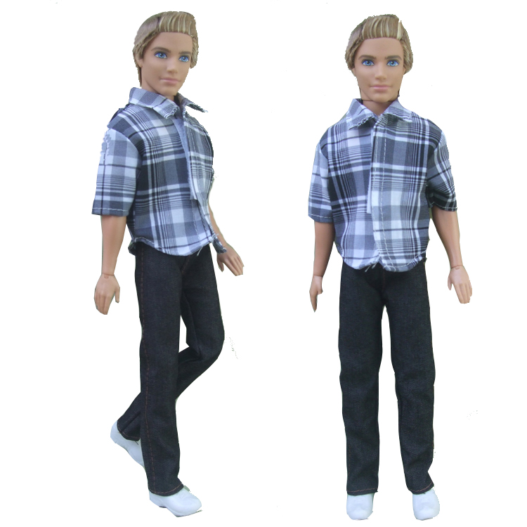 free shipping 2in1 suit Outfit Casual Wear shirt Clothes and pants for barbie boy firend for doll ken(China (Mainland))