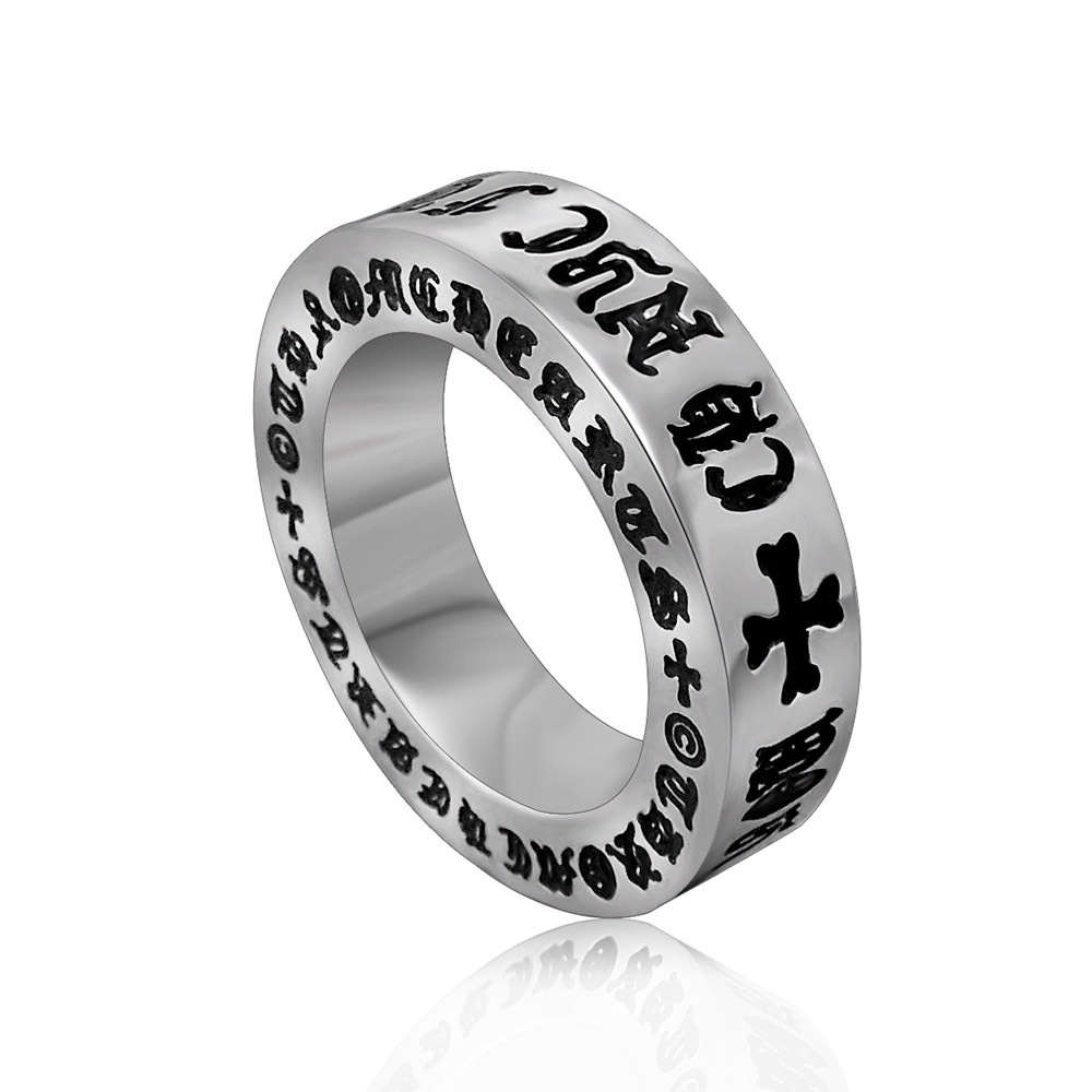 Titanium Stainless Steel Men's Jewelry Engraved Cool Retro Man Pinky Ring Hip hop Wholesale Price(China (Mainland))