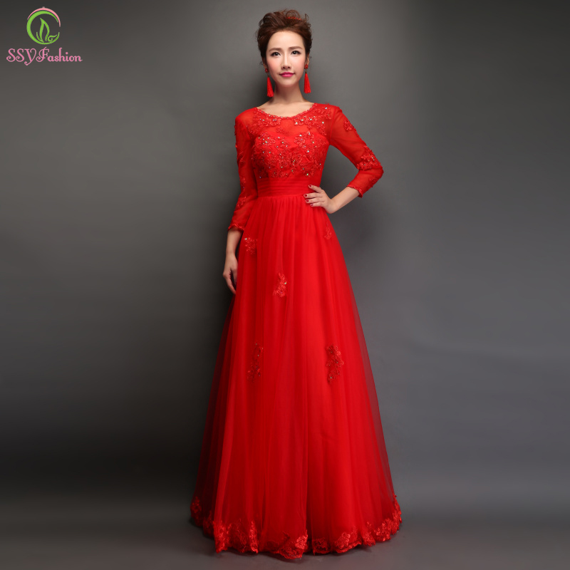 Long red lace evening dress bride marrige banquet long for Plus size dresses weddings and proms
