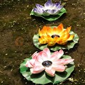 Solar LED Lotus Flower Floating Fountain Pond Pool Garden Light Multi Color Lamp