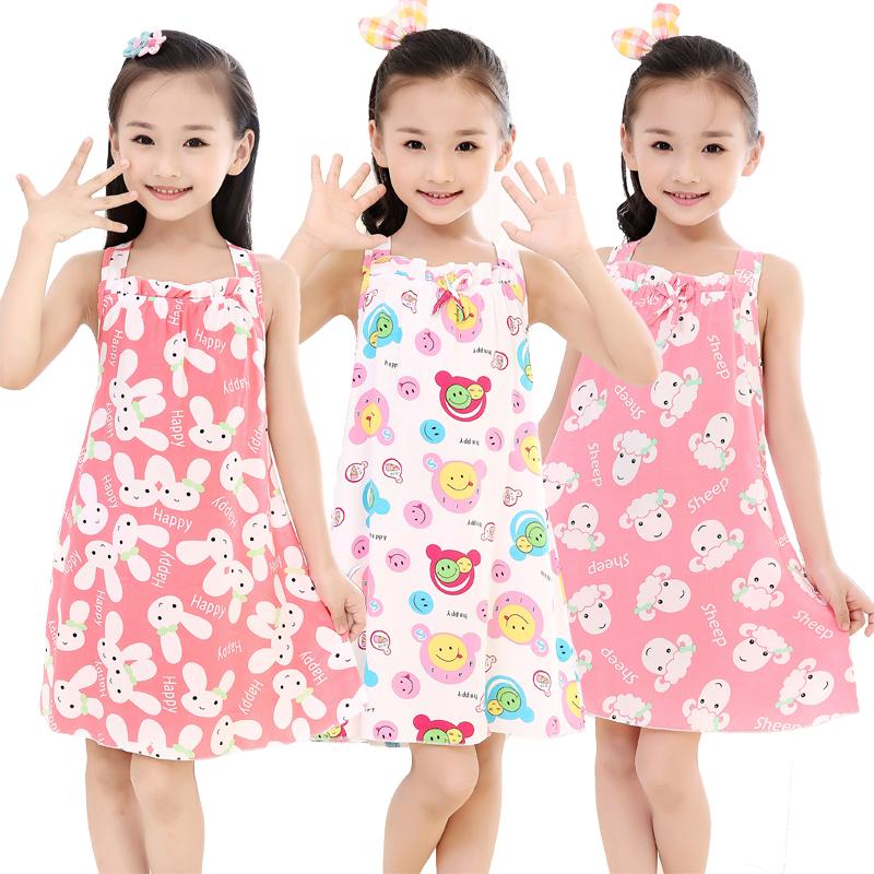2016 Cartoon Homewear Girls Clothing Kids Pajamas Summer Girls Nightgowns Pajamas Dress for Girls Kids Sleepwear Dress Kids(China (Mainland))