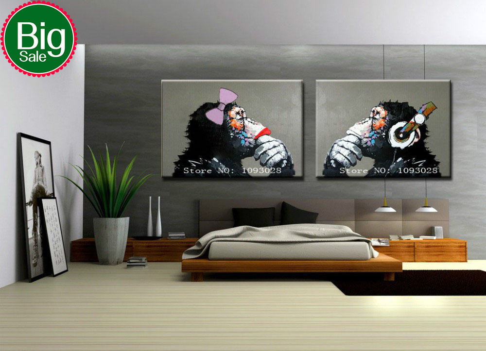 Hand painted modern Girl Gorilla wall art picture home decor living room abstract Cool Thinking Gorilla oil painting on canvas(China (Mainland))