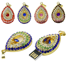 100% real capacity Jewelry crystal flash Memory usb flash drives angel tear necklace16gb 32GB Usb Pen drive free shipping