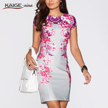 Kaige.Nina Women Summer Elegant Tartan Floral Print Tunic Work Business Casual Party Bodycon Pencil Sheath Dress 2182