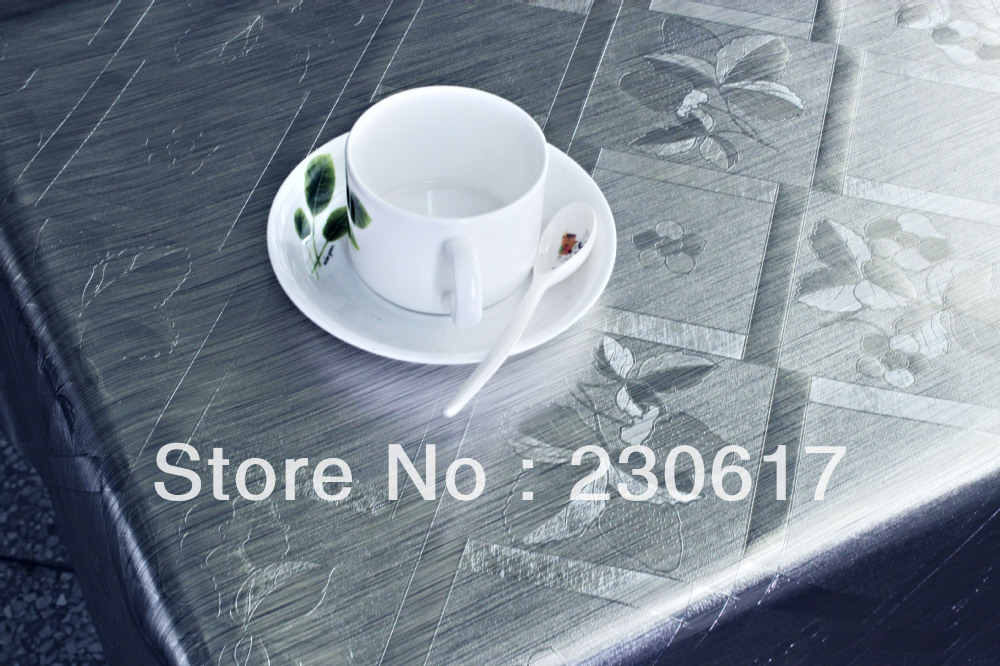 Pw182-001-C-05 Metallic Silver Color Polyester Cotton Waterproof Oilproof Dining Tablecloth Coffee Plastic Table Cover(China (Mainland))