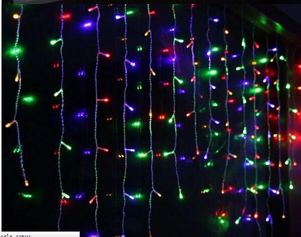 Holiday Christmas Garden Curtain Icicle String Led Lights Decoration 8 Flash Modes 110v-220V 4mx0.75m 144 LEDs Waterproof