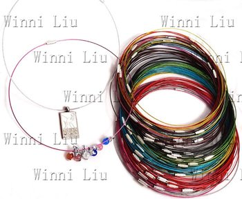 """free shipping100 WHOLESALE lots multicolor Steel Wires Necklace Chokers Cords finding For DIY bead pendant jewelry accessory18""""L"""