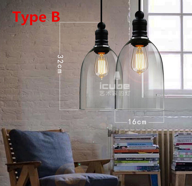 Buy american vintage style pendant lights glass lampshade kitchen industrial - Industrial lighting fixtures for kitchen ...