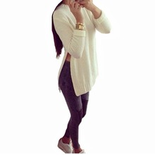 Plus Size 2016 Autumn Women Dress Long Sleeve O-Neck Side Slit Knitted Pullover Casual Long Solid women Sweater High Quality C08(China (Mainland))