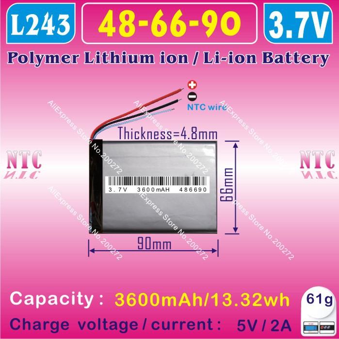 [L243] 3.7V,3600mAH,[486690] PLIB (polymer lithium ion / Li-ion battery ) for tablet pc,power bank,cell phone,speaker(China (Mainland))