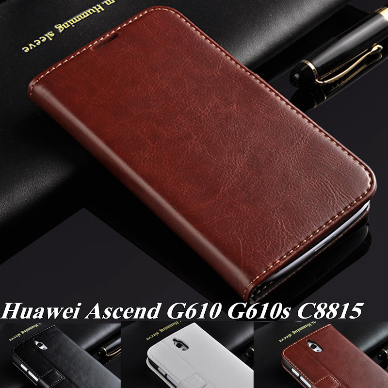 Luxury Genuine Leather Case for Huawei Ascend G610 G610s C8815 Flip Case Stand Phone Cover For Huawei G610 With Stand Function(China (Mainland))