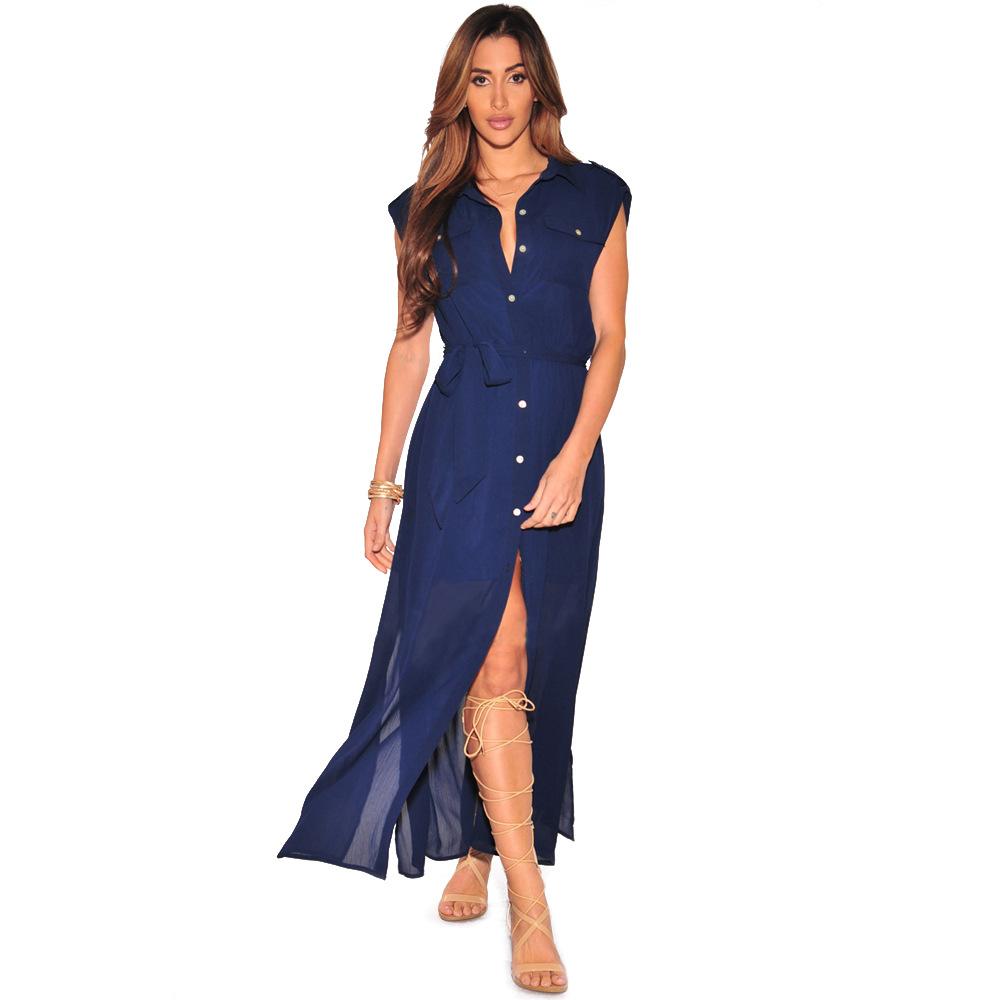 Chiffon Women Shirt Dot Blouses 2017 Casual Summer Beach Party Dresses Women's Maxi Long Blouse Woman Chiffon Silk Shirt Sexy VS