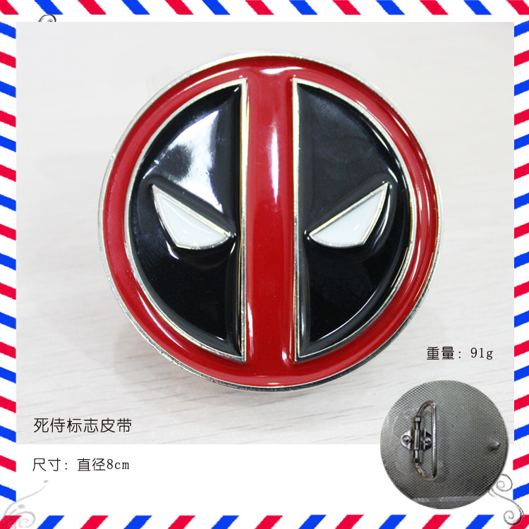 1PC Free shopping New red Fashion Movie Jewelry Deadpool Mens Vintage Western Deadpool Belt Buckle New High Quality Cosplay(China (Mainland))