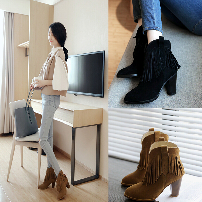 Korean Fringe Suede Genuine Leather Chunky High Heels Vintage Ankle Boots Shoes Women Tb092136<br><br>Aliexpress