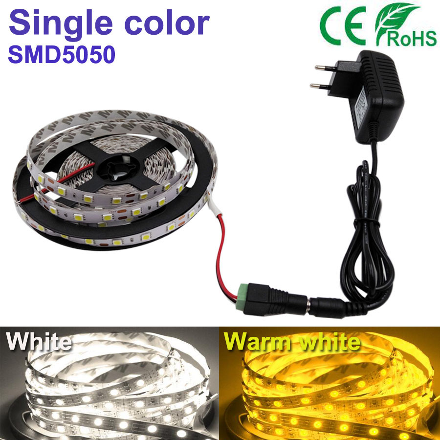 5M 300led set White/Warm white LED Strip light String Ribbon 5050SMD Tape More Bright Than+2A power For indoor home Decorative(China (Mainland))