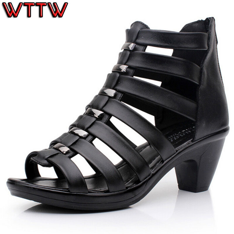 Гаджет  2015 new high quality gladiator sandals women genuine leather shoes woman cut outs women sandals high heel sandals summer shoes  None Обувь