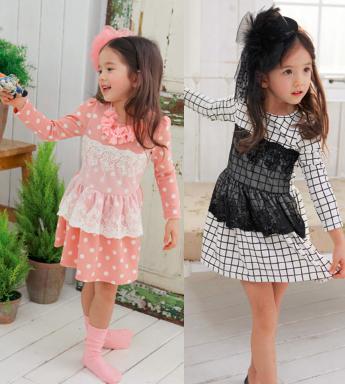 Free shipping 5pcs/lot  New  Long Sleeve Cotton Dot Dress for kids  Children Plaid Dress Garment <br><br>Aliexpress