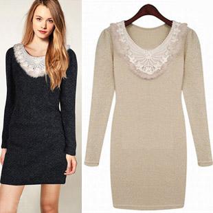 Fashion ZA** 2015 autumn winter sweet slim knit dress long-sleeve basic cintos dress american express clothing perfume original(China (Mainland))